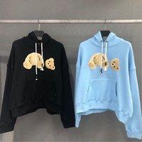 2021 новый 6 цвет продажа моды капюшон сломанный медведь толстовка плюшевый мишка модный модный махровый взрыв свитер стиль мужчин и женщин размер S-2XL
