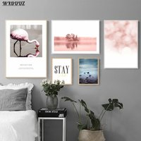 Paintings Nordic Pink Warm Flamingo Combination Painting Art Decor Bedroom Living Sofa Wall Picture Quality Canvas Poster Home