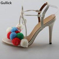 Zapatos de vestir Gullick Colorido Pompon Tacones delgados Tacones altos Tacones de encaje Mujeres Bombas de moda Peep Toe Woman Zapato de baile Fábrica Precio Fábrica Real POS