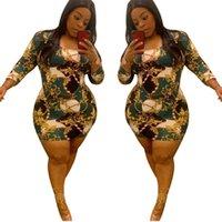 인쇄 긴 소매 드레스 플러스 사이즈 여름 여성 높은 허리 미니 스커트 라운드 넥 슬림 스키니 탄성 드레스 빈티지 의류