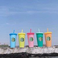 Creative Starbucks Fondo plano Sipy TAPE 710ml Cambio de color grande de alta calidad Tazas de bebidas de plástico al por mayor