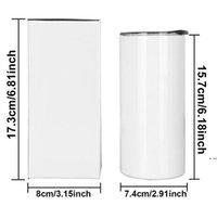Sublimation Skinny Tumbler 15 Unzen Hohe dünne Kegel-Tumelschuhe Weißes leeres vakuumisoliertes Wasserbecher für Wärmeübertragung SES Versand DHC6657