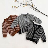 Jackets 0-4Years Toddler Baby Girl Autumn Winter Sweater Color Block Button-down Stripe Print Long Sleeve V-neck Knitwear