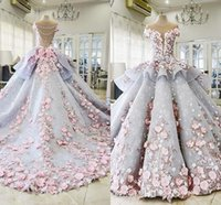 2018 Luxury Quinceanera Ball Gown Dresses 3D Floral Lace Applique Cap Sleeves Sweet 16 Floor Length Sheer Back Puffy Party Prom E