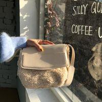 Cross Body Fashion Lambswool Small Flap Women Shoulder Bags Designer Wide Strap Messenger Bag Luxury Faux Fur Crossbody Female Purses