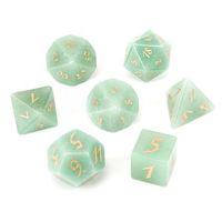 Natuurlijke groene aventurine losse edelstenen graveren kerkers en draken game-getal-dobbelstenen aangepast stenen rollenspel spel polyhedron kristal dobbelstenen set ornament