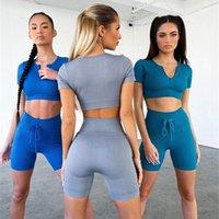 2021 Spor Yeni Kadın Giyim Kentsel Eğlence Katı Renk Yoga Takım Elbise Koşu Spor Fitness Suit Lace Up