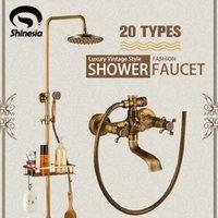 Shinesia Antique Bronze Banheiro Conjunto de Chuveiro Torneira com cabides de prateleira de commodities 8 chuva cabeça montada na parede Misturador de banho torneira