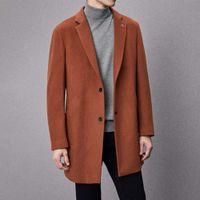 Cuello de hombre de otoño e invierno Cuello de un solo pecho de lana de lana de algodón abrigo de longitud media cálida D4E068