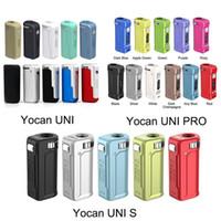 Новые 11 цветов аутентичные yocan Uni Pro S Box Mod 650 мАч предварительно нагрейте VV Vape Battery для всех 510 нить тележки картридж на 100% оригинал