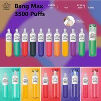 Bang Max 3500 Puffs Tek Kullanımlık Elektronik Sigara 1400 mAh Pil 7.5ml Önceden doldurulmuş Pod Cihazı Yumuşak ağızlık 10 renkler ile büyük vape kalem 10 renkler EZZY Super 2in1 mini 2 in 1