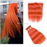 Оранжевые кружевные фронтальные с пучками Чистый цвет оранжевые прямые пачки волос европейские волосы человеческой девственницы с кружевной фронтальной свободной средней трех