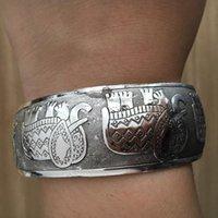 Armreif Gypsy Ethnische Quadrat Elefant Metall Geschnitzte Wide Bangles Tibetanische Silberfarbe Vintage Retro Tribal Armband Manschette Für Frauen