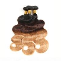 Ombre Brezilyalı Saç Örgü Demetleri 1B 4 27 # Vücut Dalga İnsan Saç Demetleri 3 Ton Saç Uzatma 3 veya 4 Paketler Ücretsiz Kargo