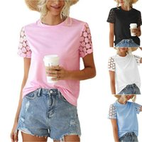 Women's T-Shirt Summer Woman Tshirts Lace Hollow Out Short Sleeve T Shirt Womens Top Ladies Round Neck Tops Tee 2021
