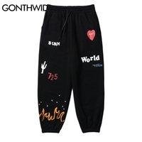 Gonthwid fogo chama cacto impressão lã sweatpants streetwear hip hop casual corredor solto suor calças homens harajuku calças 201217