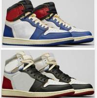 União x 1 alto og nrg la los angeles azul toe varsity tempestade vermelha 1s sapatos de basquete homem sapatilhas