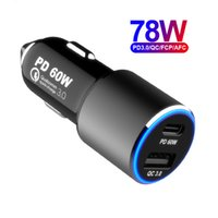 USB C TYPE-C PD 60W and Fast Charge QC3.0 18W 2port 78W Power Super Speed Car Charger for smartphones