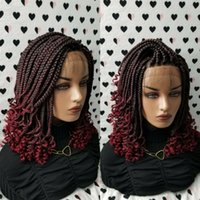 Ombre Red Short Box Braids Wig With Curly Tips Synthetic Fully Handmade Braided Lace Front Wigs For Black Women