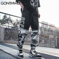 GONTHWID Pantalones Hip Hop Luna El astronauta de impresión del tinte del lazo delgadas Pantalones Streetwear Moda punk rock gótico holgado flojo ocasional de los pantalones c0325
