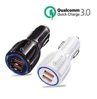 QC3.0 CE FCC بنفايات معتمدة شحن سريع المزدوج 2 منفذ USB شاحن سيارة سريع ل فون سامسونج هواوي Xiaomi LG Motorola Tablet