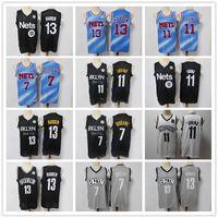 "Mens Brooklyn ""Gerileme Nets"" Jersey Kyrie Kevin 7 Durant 11 Irving James 13 Harden Basketbol Şort Basketbol Forması Siyah Mavi"