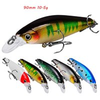 5 Color Mixed 90mm 10.5g Minnow Hard Baits & Lures Fishing Hooks 6# Treble Hook Pesca Tackle Accessories WA_673