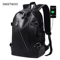 Backpack Mens Fashion Usb Charging High-Capacity Waterproof Pu Leather 14 Inch Hip Hop Student Schoolbag Laptop Bag Travel