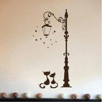 Wall Stickers Creative DIY Ancient Lamp Cats And Birds Sticker Cartoon Mural Home Decor Room Kids Decals Wallpaper