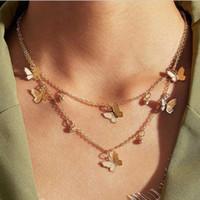 2021europeia e americana jóias Novo popular borboleta colar simples liga borboleta pingente clavícula cadeia feminina colar