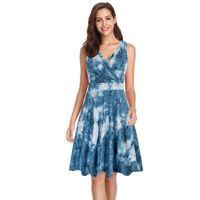 Casual Dresses Summer Women's Tie-dye Dress V-neck Sleeveless Knee-length High Waist Temperament Ladies Vestido De Las Señoras#E