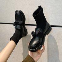 Stiefel kurze stiefel frauen 2021 britische stil kleine lederschuhe strickte elastische mittlere rohr dünne socken