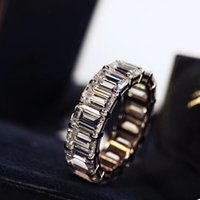 Emerald Cutting University Row Diamond Ring European and American Fashion S925 Silver Plated 50-Point Row Diamond Wide Version Simulation Di