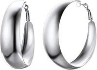 Hoop & Huggie GPUNK Fashion Round Earrings For Women Stainless Steel 18K Gold Black Plated Big Earring Hoops Fit Sensitive Ears