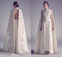 Arabic Evening Dresses Zuhair Murad High Neck Long Prom Gowns Applique Sheath Pageant Split Front Best Formal Evening Dress for Wedding'