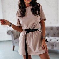 Casual Katı kadın Elbise Kemer Eğlence Beyaz Elbiseler Yaz 2021 T Gömlek Elbise Kadınlar Beyaz Kısa Elbise Vestidos Giysileri 210309