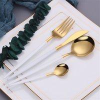 24шт / комплект зеркало золотые столовые приборы набор 18/10 посуда из нержавеющей стали серебро