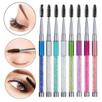 Makeup Brushes Eyelash With Rhinestone Handle Mascara Applicator Eyebrow Comb Spiral Wands Extension Grafting Beauty Tools