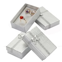 32pcs Cardboard Jewelry Boxes 1.9''x3.1'' Silver Gift for Pendent Necklace Earrings Ring Box Packaging with White Sponge 211014