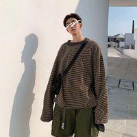Мужские повседневные полосатые уличные кофты для толстовки тонкие толстовки хип-хоп красочные моды негабаритные толстовки с длинным рукавом мужские пуловеры