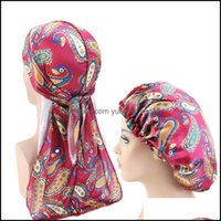 Beanie Skl Hats Caps Hats, Scarves & Gloves Fashion Aessories2 Pcs Lot Silky Durag And Bonnet Sets For Women Men Unisex Wrap Custom Designer