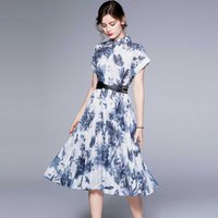 2021 Summer Jungle Ink Printing Medium Length Elegant Feminine Dress with Beltwd8d