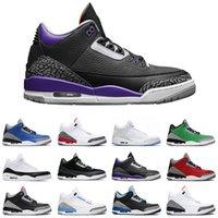Corte púrpura 3s hombres baloncesto zapatos 3 UNC varsity real real cemento negro tiro libre tiro fuego rojo seúl entrenador deportes zapatillas deportivas
