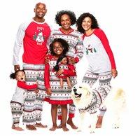 Sets Christmas Pajamas Snowman Family Mother PrintedPajamas Kids Clothes Sleepwear YHM29-WLL Matching Father Outfits Nighty Xmas Xlphs