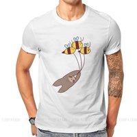 Men's T-Shirts Animal Cute Kawaii Cartoon Crewneck TShirts Sloth And Bumble Bees Print Homme T Shirt Trend Clothing Size S-6XL