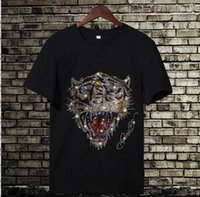 Erkek Yaz Yeni Klasik Serin Matkap T-Shirt Gevşek Seyahat Su Moda Tasarım Matkap Kafatası Kaplan Kafası Tavuskuşu Kuyruk Pamuk Kısa Kollu