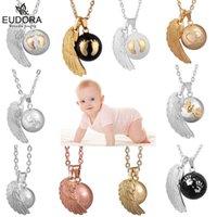 Eudora Angel Wing Dziecko Dzwoniący Naszyjnik Moda Ciąża Kulka Biżuteria Kurki Bola Wisiorki 45 Calowe Naszyjniki Biżuteria Prezent 211012
