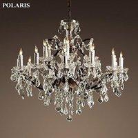 Vintage Crystal Rustique Lustre Éclairage Bougeoir Lambades Pendentif Lampe suspendue pour salle à manger