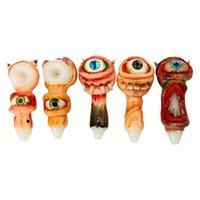 Single Big Eye Design Glass Resin Hand Pipe Bongs Cool Teeth Water Herb Pipes Heady Thick Pyrex Spoon Smoking Oil Rig Dab Burner Tobacco Tube