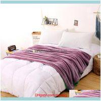 Blankets Textiles Home & Gardensuper Flannel Fleece Throw Soft Travel Blanket Solid Color Bedspread Plush Er For Bed Sofa Warm Gift Dropship